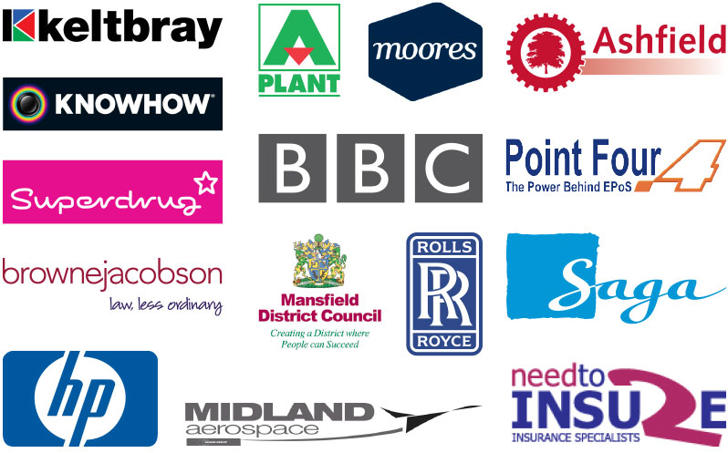 All the employers we work with: keltbray, knowhow, superdrug, brownejacobson, hp, a plant, moores, bbc, mansfield district council, rolls royce, midland aerospace, ashfield, point four, saga, need to unsure.