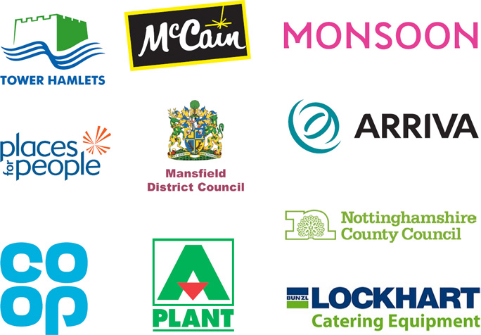 A selection of company logos currently working with Vision Apprentices
