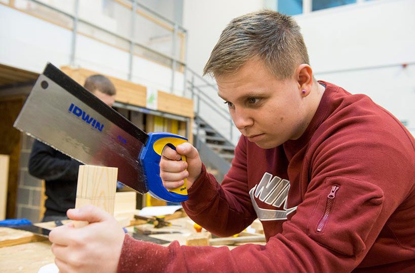 Carpentry and joinery students are put to task as part of their course to learn the specialist skills required for their trade.