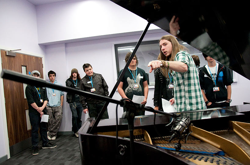 Live rooms offer sound-proofed space and state-of-the-art facilities for music students – including a baby grand piano!
