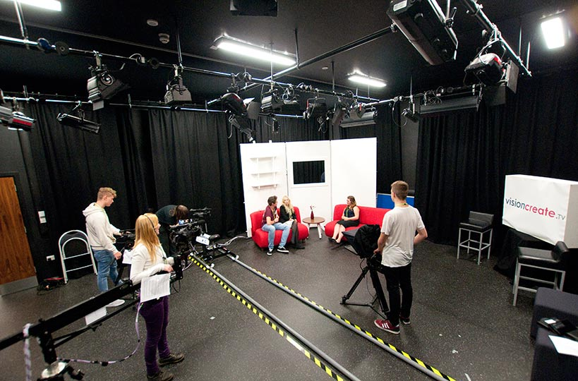 Create's TV studio gives students the space to create real-life sets to learn the skills needed in industry.
