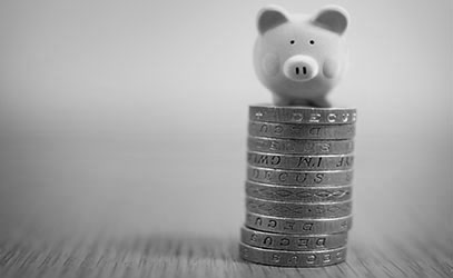 photo of a pig sitting on top of a pile of one pound coins