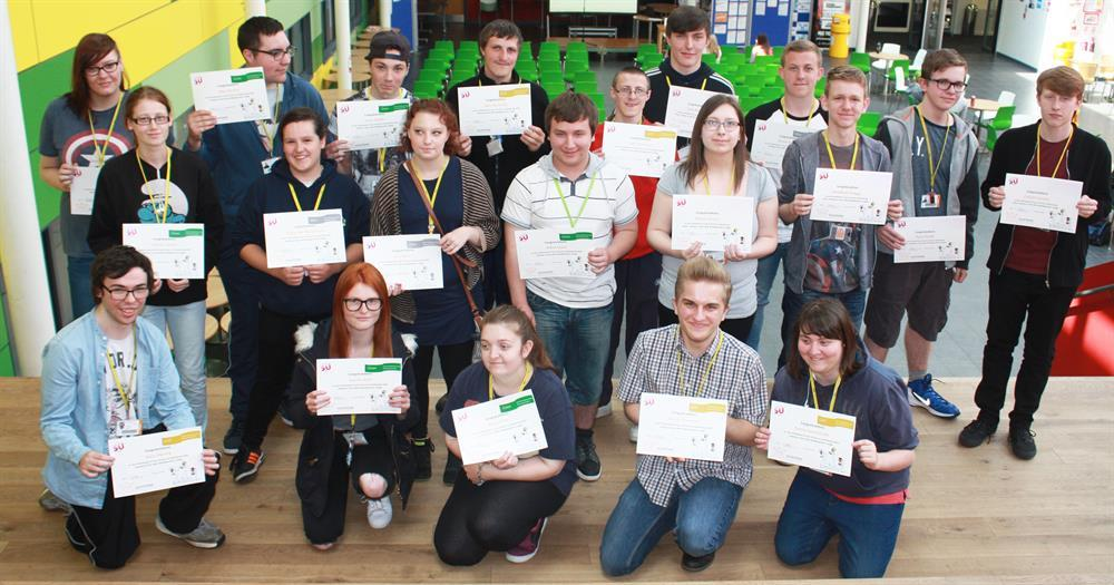 Some of the students proudly showing off their volunteering certificates