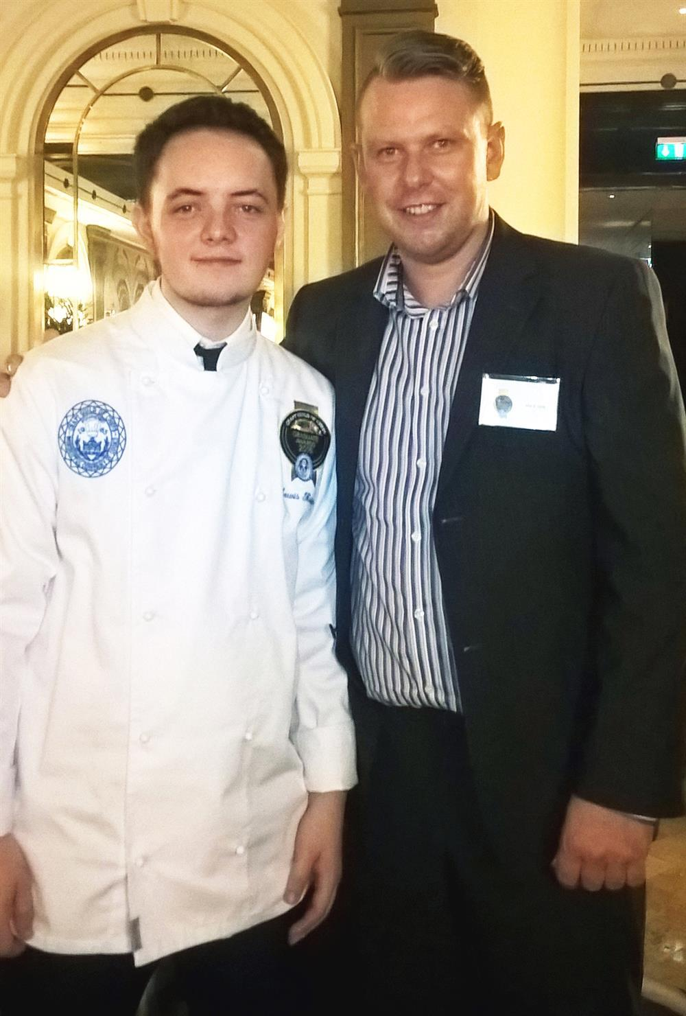 Lewis Kuciers with his mentor Mark Jones at The Park Lane Hotel in London