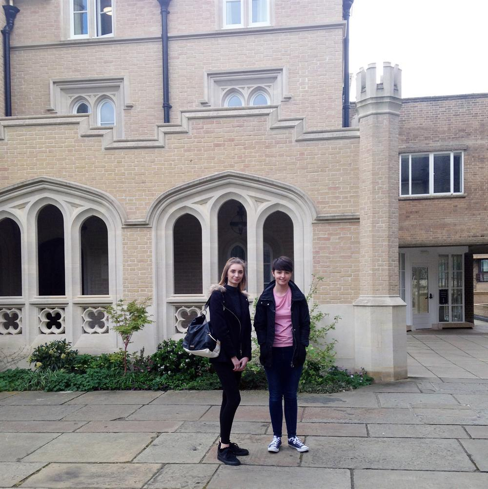Madeline Page and Kate Williams at Peterhouse College, Cambridge