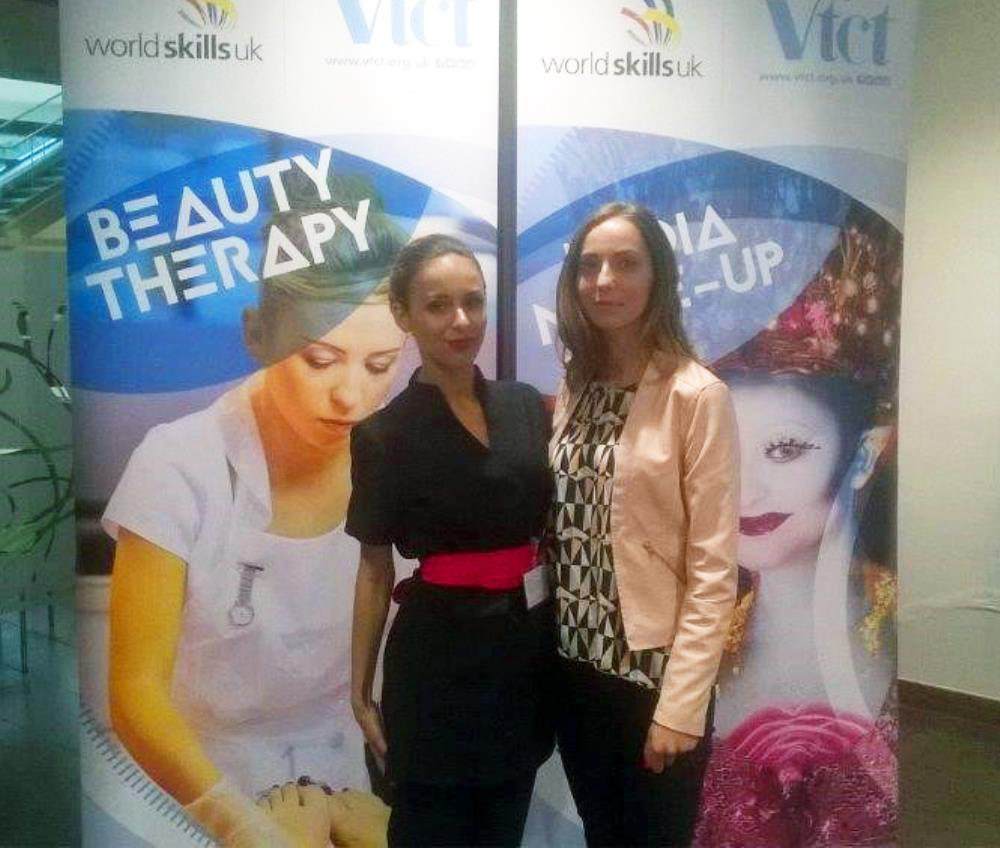 Paula (left) celebrated her first place with Bradford College's head of beauty and spa