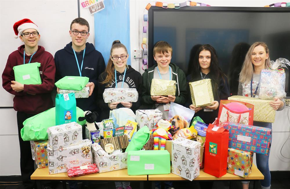 Hampers of food, toys, treats and blankets have been created by students